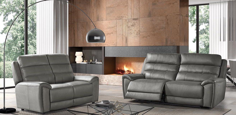 Piero – 2,5RR + 2 – Leather Masivo Antracite + Fabric Laser Antracite